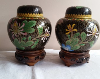 Cloisonne Covered Jars, Ginger Jars. Two Matching, Black and Gold Background, Flowers.