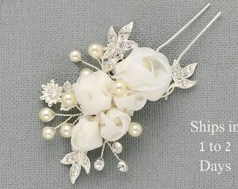 Small Wedding Hair Pin, Bridal Hair Flower, Floral Hair Piece, Silver Pearl Crystal Rhinestone Organza Hair Piece, Comb, Pin, Ready to Ship