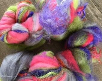Spring,  Fiber Art Batt for spinning or felting, 4.6 ounces