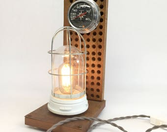 Explosion Proof Lamp, Vintage Nautical Lamp, Nautical Desk Lamp, Vintage Boat Speedometer, Man Cave Decor, Beach Decor