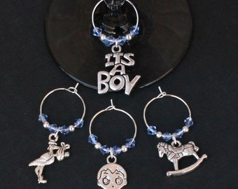 Baby Shower-New Baby Boy-Wine Glass Charms-Set of 4-ITSABOY004-4