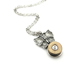 Edwardian Bullet Pendant - Colt 45 Bullet Necklace  -  Steampunk Butterfly Pendant - Graduation Gift Idea - Insect Jewelry