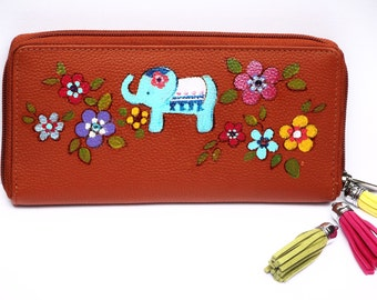 Painted Elephant Womens Leather Wallet Boho Accessories FREE SHIPPING