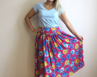 Fuchsia Pink Floral Print Skirt Pleated Full Midi Skirt  Yellow Purple Flowers Large Size