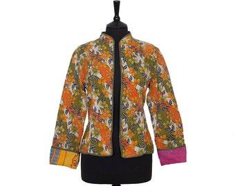 KANTHA JACKET - Large - Short style - Size 12/14 - Orange and green. Reverse pink