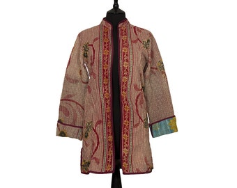 KANTHA JACKET - X Small - Long style - Size 8 - Red striped pattern. Reverse turquoise and mustard.