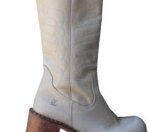 90s Leather CREAM PLATFORM Detroyer Boots Chunky 1990s Spain 9