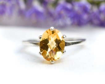 Natural Oval Cut Citrine Six-Claw Ring with 925 Sterling Silver *Free Worldwide Shipping*