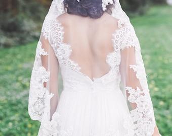 mantilla veil, lace mantilla veil, lace edge mantilla, lace mantilla wedding veil, lace bridal veil, lace edge veil  - MERCEDES