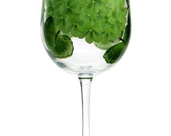 Hand-Painted Wine Glass Limelight Hydrangea