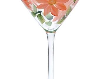 Coral Daisies Martini Glass