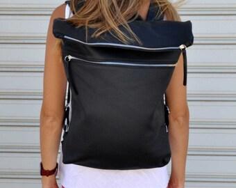 Black leather backpack / gift for her/ gift for him / rucksack