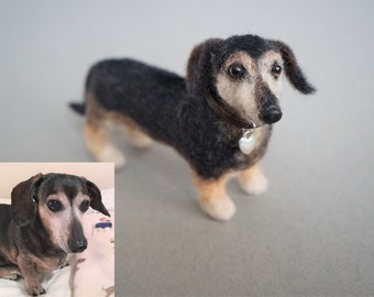 Needle Felted Dachshund Dog, Custom Dog Pet Portrait, Felted Wiener Dog, Felt Animal, Dachshund Pet Lovers, Miniature Animal, Pet Memorial