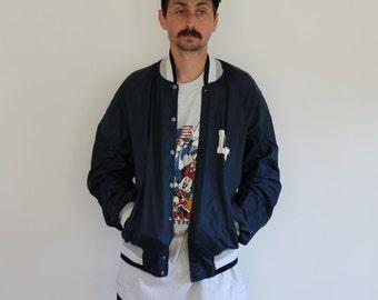 Champion Nylon Bomber Snap Jacket Large