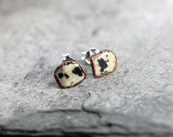 Stone Posts Sterling Silver Studs Dalmation Jasper Small Stud Earrings Electroformed Earrings Copper Jewelry Gemstone Jewelry Natural Stone