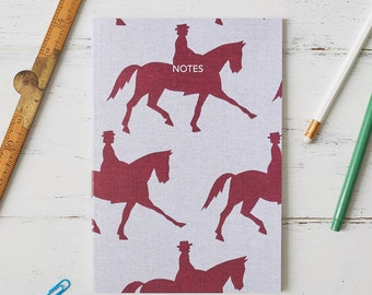 Dressage Horse Notebook Burgundy Countryside Paper Stationery School Office Gift