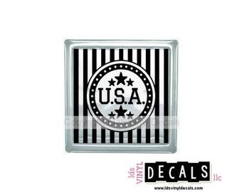 USA (Stars and Stripes) - Patriotic and Military Vinyl Lettering for Glass Blocks - Craft Decals