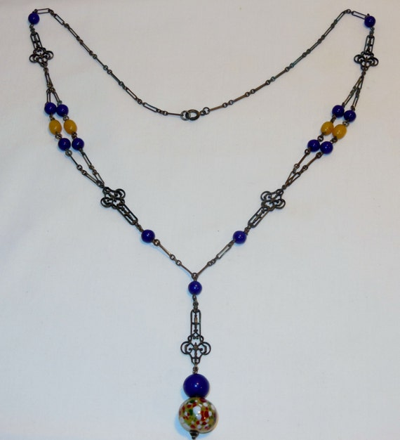 Art Deco Czech Glass Necklace Brass Gothic Key Chain Lapis Egg Yolk Amber Spatter Glass Bead