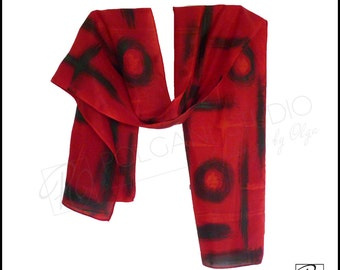 Red Black Silk Scarf Hand Painted Wearable Art Abstract Modern 'Accents' Scarf, 11x60 inches, Ready to ship.