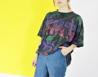 90s grunge shirt OVERSIZED TEE zebra print streetwear oversized blouse S M L loose fit shirt abstract pattern