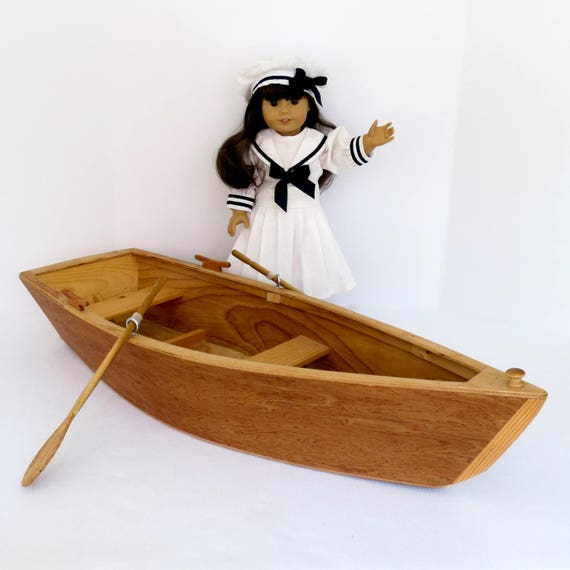 DOLL ROWBOAT, Two-Doll Wood Rowboat Handcrafted for 18 Inch dolls such as American Girl® with Hand-Carved Oars