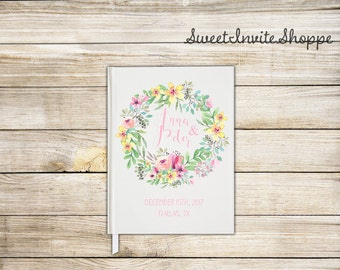 Bright Floral Wedding Guest Book, Floral Wreath Wedding Guest Book, Bridal Shower Guest Book, Pink Watercolor Guest Book, Boho Book