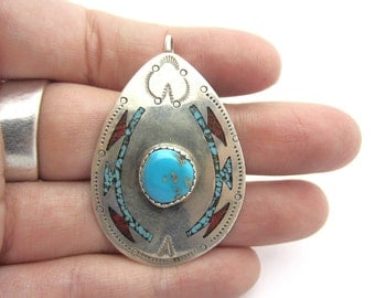 E. Tsosie Navajo Turquoise and Coral Inlay Pendant Sterling Silver