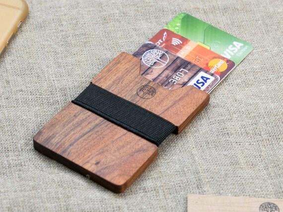 NEW! slim Rosewood wood wallet 3-5 card, black color strap / Best for boyfriend gift / Slim & Light wallet / Mini Mens wallet / + Engraving