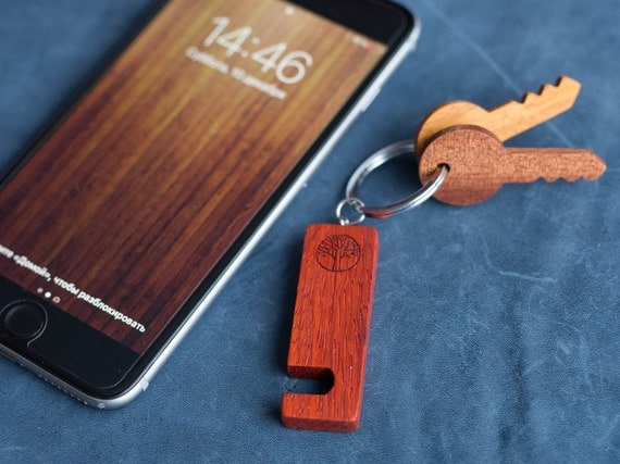 Padauk red Wood smartphone stand keychain. Real wood. Any engraving 2 sides. Keyring  Stand for iPhone, Samsung and other. Best gift.