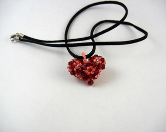 Red Crystal Beaded Heart Pendant Necklace
