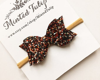 CLEARANCE Red Gold and Black Glitter Bow on Headband or Hair Clip Baby Toddler Kids