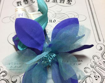 Unique purple and teal vintage millinery flower