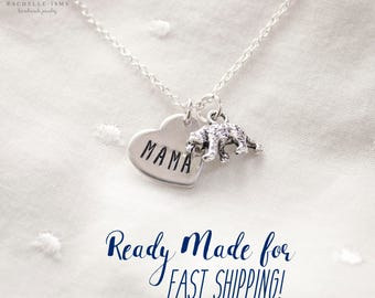 Mama Bear Necklace - Silver Mama Bear Jewelry Gift for Mom Necklace Ready to Ship Gift for Christmas Gift Necklace for mom Jewelry
