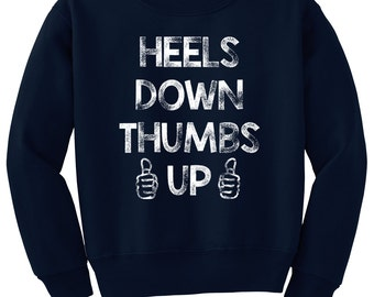 Heels Down Thumbs Up Horse Sweatshirt, Equestrian Clothing for Youth Girls & Boys, Hunter Jumper Eventing Dressage
