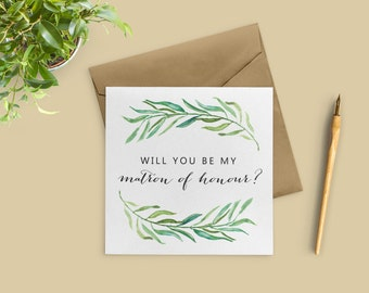 Matron of Honor Proposal, Will You Be My Matron of Honour Card, Matron of Honor Card, Bridal Party Cards, SKU: WYB002