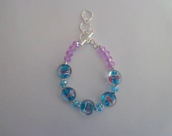 Blue Lampwork Bracelet, Blue Bracelet with Toggle Lock