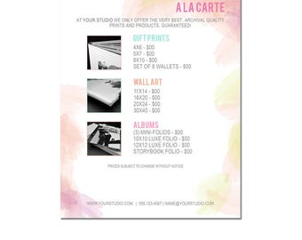 INSTANT DOWNLOAD, Sell Sheet, A la Carte Pricing Template, Photography Marketing, 8.5 x 11 size, Families, Seniors, Babies, Pricing Sheet
