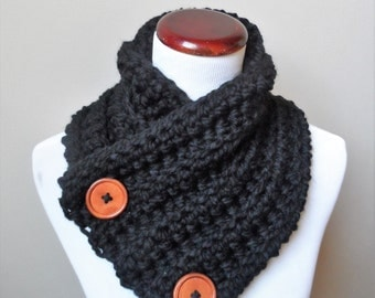 Chunky Button Up Neck Warmer in Black, Ready to Ship