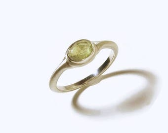 Green Sapphire Ring in Sterling Silver, bushed matte, rustic, Ready to Ship Size 5.75