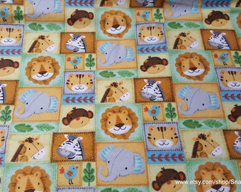 Flannel Fabric - Zoo Animal Patchwork - By the yard - 100% Cotton Flannel