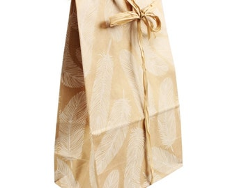 """Paper gift bags, set of 10, 31x16x9.5 cm / 12""""x6.3""""x3.7"""", feathers, brown, kraft paper"""