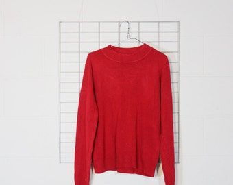 super soft red mock turtleneck sweater