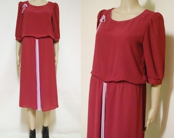 70s Vintage Maroon Dress Mid Length Light Weight Puff Sleeve Sheer Pleated Ribbon Vtg 1970s Retro M-L