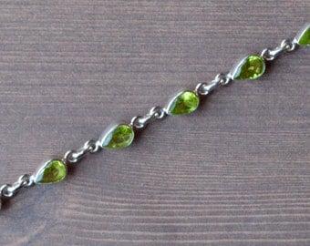 Teardrop Faceted Green Peridot Bracelet // Peridot Jewelry // Sterling Silver // Village Silversmith