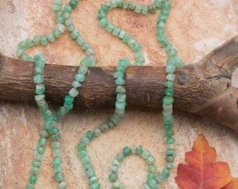 Long Chrysoprase Necklace Green Gemstone Necklace Hand Knotted Silk Cord Necklace