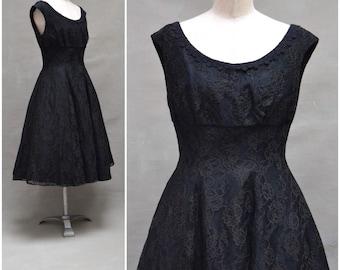 Vintage Dress, 1950's / early 60's black lace dress, Attractive formal day dress, Swing dress,  Mid century / Rockabilly / jive dress