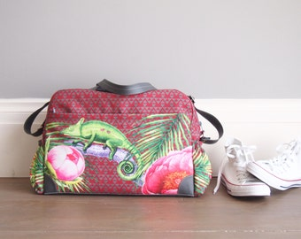 Ready to ship DIAPER BAG or Tropical Wekeender With Vegan Leather Details and Water resistant Lining, Tropical greenery and a green cameleon