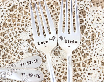 Love Birds Wedding Forks  - Hand Stamped Cake Fork Set - Custom - Vintage Silver Flatware - Reception Silverware - His Hers - Mr. Mrs.