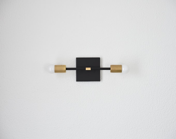 Free Shipping! Matte Black and Brass Gold Wall Sconce Vanity 2 Bulb Modern Mid Century Industrial Art Light Bathroom Powder Coated UL Listed