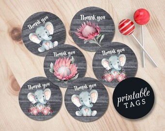Thank you Tags Baby Shower, Elephant Favor Tags Printable, Jungle Baby Shower Thank you Tags, Girl Elephant Thank you Stickers, Gift bag tag